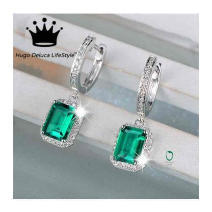 2 66ct Cushion Cut Emerald And Diamond Earrings